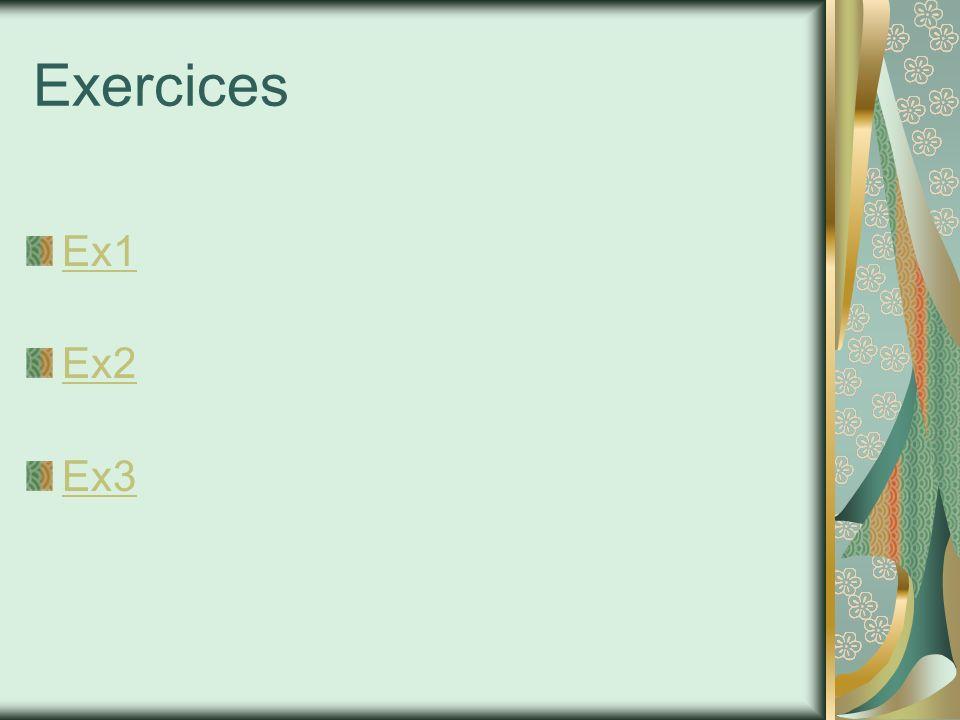 Exercices Ex1 Ex2 Ex3