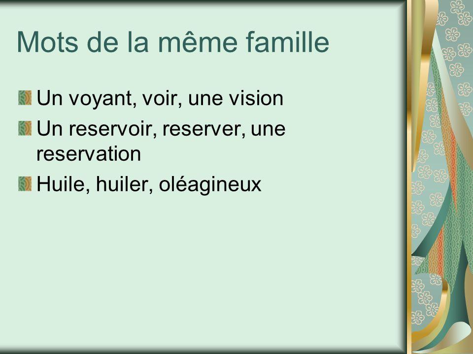 Mots de la même famille Un voyant, voir, une vision Un reservoir, reserver, une reservation Huile, huiler, oléagineux
