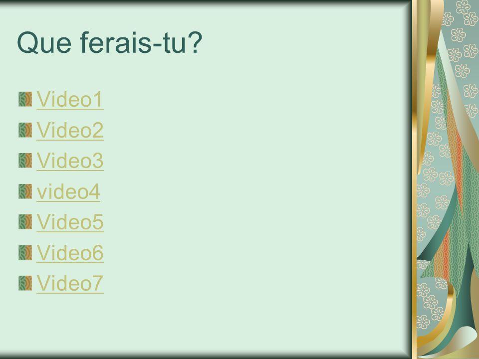 Que ferais-tu? Video1 Video2 Video3 video4 Video5 Video6 Video7