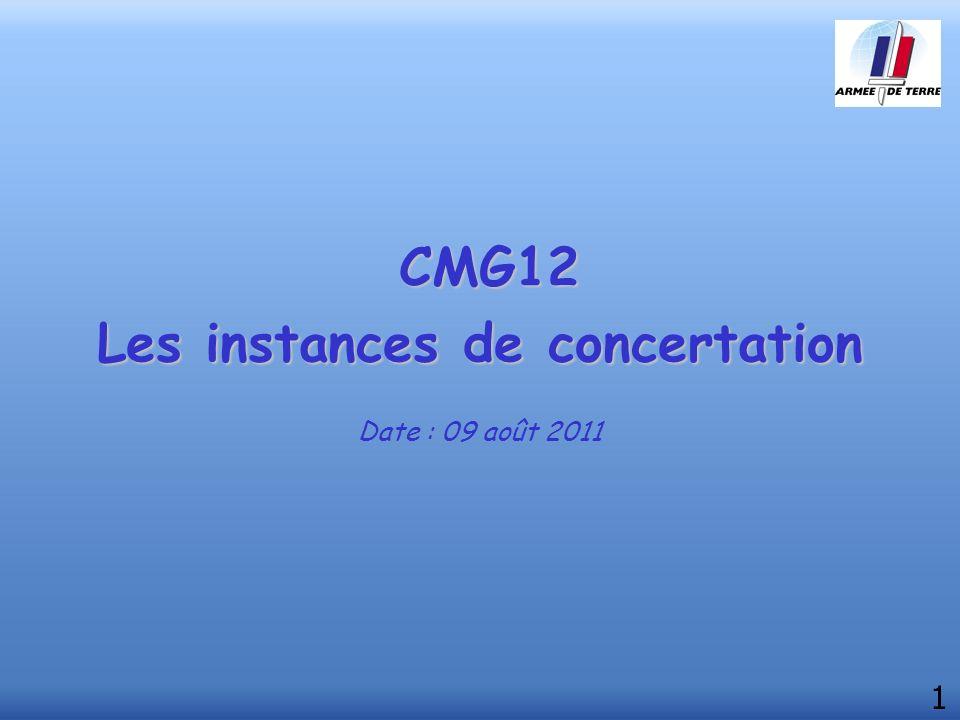 CMG12 Les instances de concertation Date : 09 août 2011 1