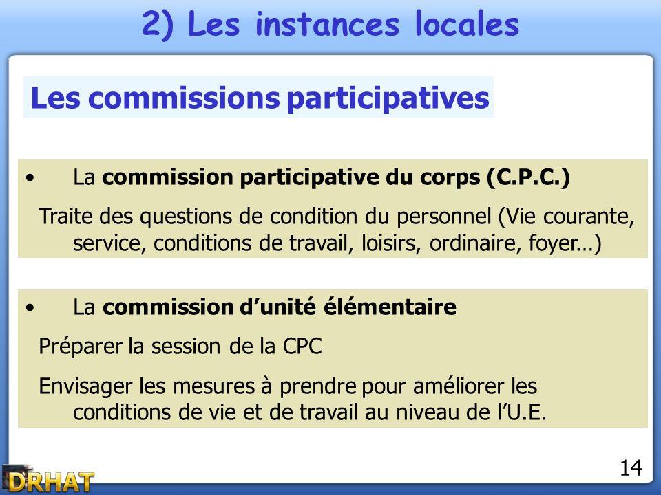 2) Les instances locales Les commissions participatives La commission participative du corps (C.P.C.) Traite des questions de condition du personnel (