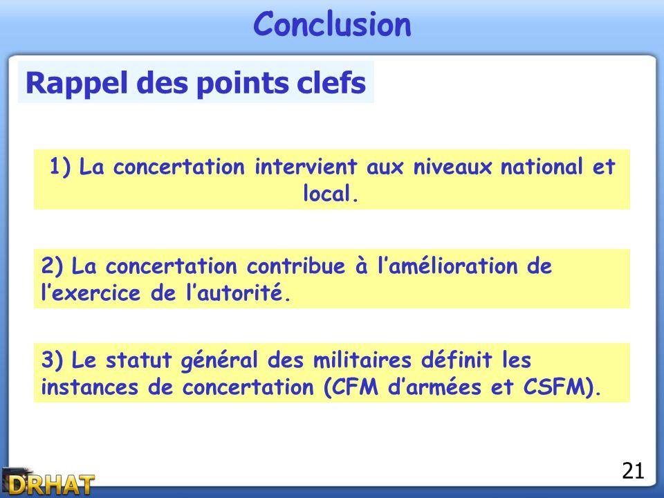 Conclusion Rappel des points clefs 1) La concertation intervient aux niveaux national et local. 2) La concertation contribue à lamélioration de lexerc