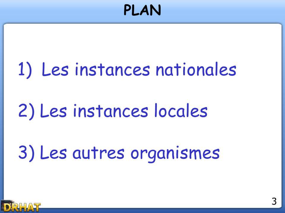 1)Les instances nationales 2) Les instances locales 3) Les autres organismes PLAN 3