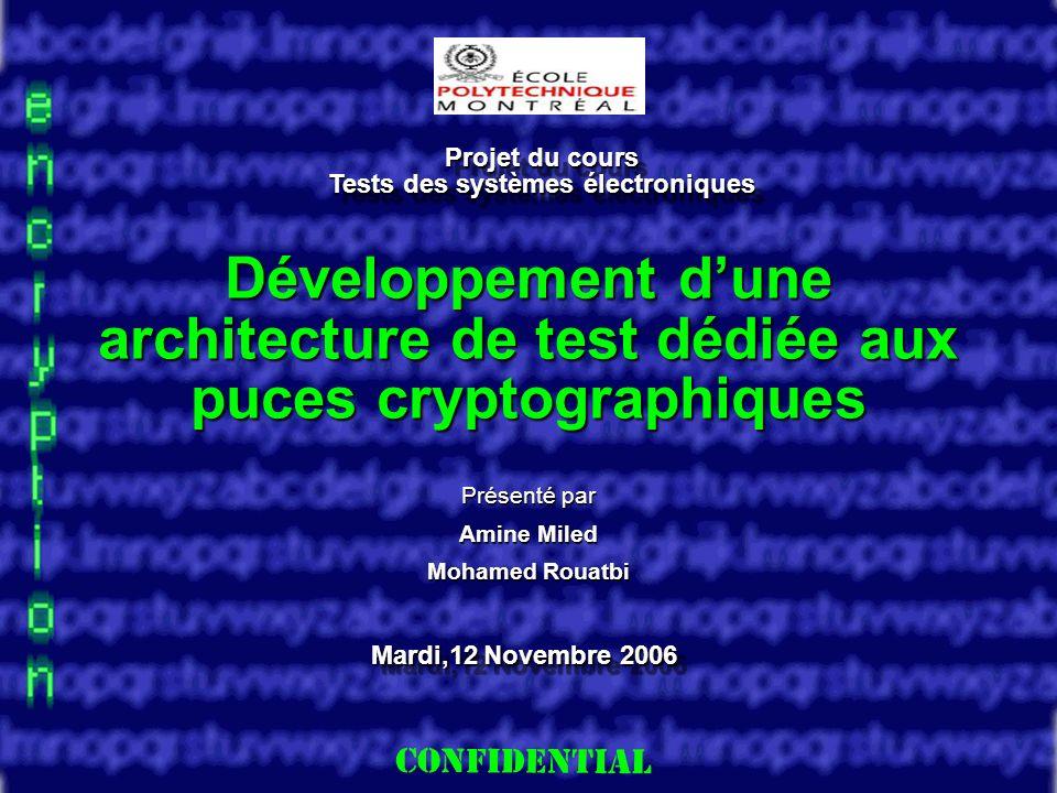 Slide 1 Développement dune architecture de test dédiée aux puces cryptographiques Présenté par Amine Miled Mohamed Rouatbi Projet du cours Tests des systèmes électroniques Mardi,12 Novembre 2006
