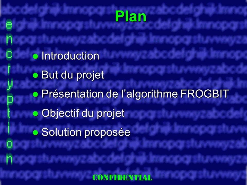 Slide 2 Introduction Introduction But du projet But du projet Présentation de lalgorithme FROGBIT Présentation de lalgorithme FROGBIT Objectif du projet Objectif du projet Solution proposée Solution proposée Plan