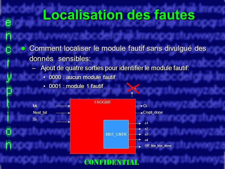 Slide 24 Localisation des fautes Comment localiser le module fautif sans divulgué des donnés sensibles: Comment localiser le module fautif sans divulgué des donnés sensibles: – Ajout de quatre sorties pour identifier le module fautif: 0000 : aucun module fautif0000 : aucun module fautif 0001 : module 1 fautif0001 : module 1 fautif FROGBIT BIST_CNTR e1 e2 e3 e4 Off_line_bist_done Mi Next_bit Si Ci Crypt_done So