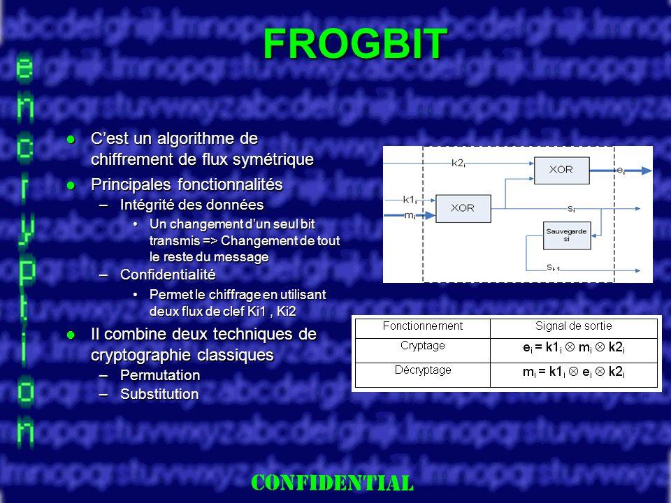 Slide 7 FROGBIT Cest un algorithme de chiffrement de flux symétrique Cest un algorithme de chiffrement de flux symétrique Principales fonctionnalités Principales fonctionnalités –Intégrité des données Un changement dun seul bit transmis => Changement de tout le reste du messageUn changement dun seul bit transmis => Changement de tout le reste du message –Confidentialité Permet le chiffrage en utilisant deux flux de clef Ki1, Ki2Permet le chiffrage en utilisant deux flux de clef Ki1, Ki2 Il combine deux techniques de cryptographie classiques Il combine deux techniques de cryptographie classiques –Permutation –Substitution
