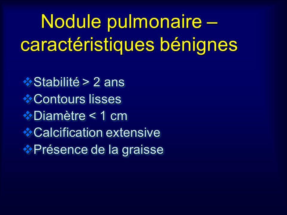 Nodule pulmonaire – caractéristiques bénignes Stabilité > 2 ans Stabilité > 2 ans Contours lisses Contours lisses Diamètre < 1 cm Diamètre < 1 cm Calc