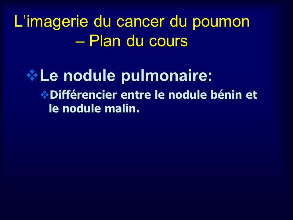 Nodule pulmonaire – diagnostic différentiel Cancer du poumon Cancer du poumon Métastases Métastases Granulome Granulome Hamartome Hamartome Tumeur carcinoïde Tumeur carcinoïde Cancer du poumon Cancer du poumon Métastases Métastases Granulome Granulome Hamartome Hamartome Tumeur carcinoïde Tumeur carcinoïde