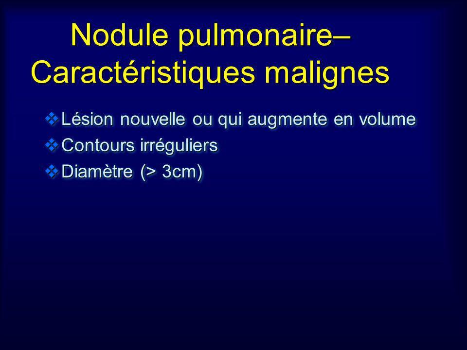 Nodule pulmonaire– Caractéristiques malignes Lésion nouvelle ou qui augmente en volume Lésion nouvelle ou qui augmente en volume Contours irréguliers