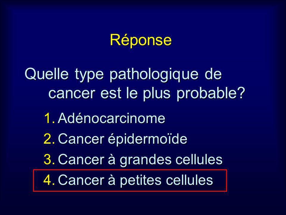 Réponse Quelle type pathologique de cancer est le plus probable? 1.Adénocarcinome 2.Cancer épidermoïde 3.Cancer à grandes cellules 4.Cancer à petites