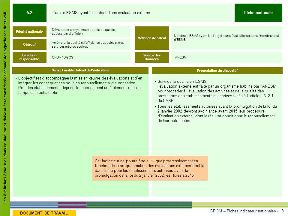 CPOM – Fiches indicateur nationales - 18 Les évolutions évoquées dans ce document doivent être considérées comme des hypothèses de travail DOCUMENT DE TRAVAIL Suivi de la qualité en ESMS : lévaluation externe est faite par un organisme habilité par lANESM pour procéder à lévaluation des activités et de la qualité des prestations des établissements et services visés à larticle L 312-1 du CASF Tous les établissements autorisés avant la promulgation de la loi du 2 janvier 2002 devront avoir lancé avant 2015 leur procédure dévaluation externe, dont le résultat conditionne le renouvellement de leur autorisation Lobjectif est daccompagner la mise en œuvre des évaluations et den intégrer les conséquences pour les renouvellements dautorisation.
