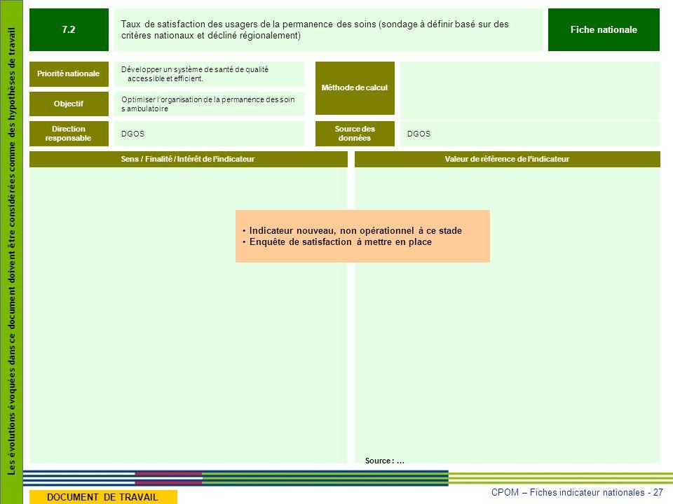 CPOM – Fiches indicateur nationales - 27 Les évolutions évoquées dans ce document doivent être considérées comme des hypothèses de travail DOCUMENT DE