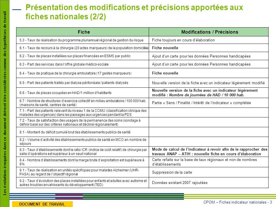 CPOM – Fiches indicateur nationales - 3 Les évolutions évoquées dans ce document doivent être considérées comme des hypothèses de travail DOCUMENT DE