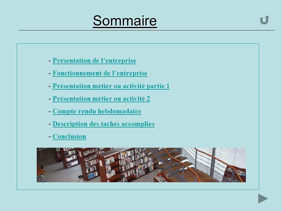 Sommaire - P- Présentation de lentreprise - F- Fonctionnement de lentreprise - P- Présentation métier ou activité partie 1 - P- Présentation métier ou activité 2 - C- Compte rendu hebdomadaire - D- Description des taches accomplies - C- Conclusion