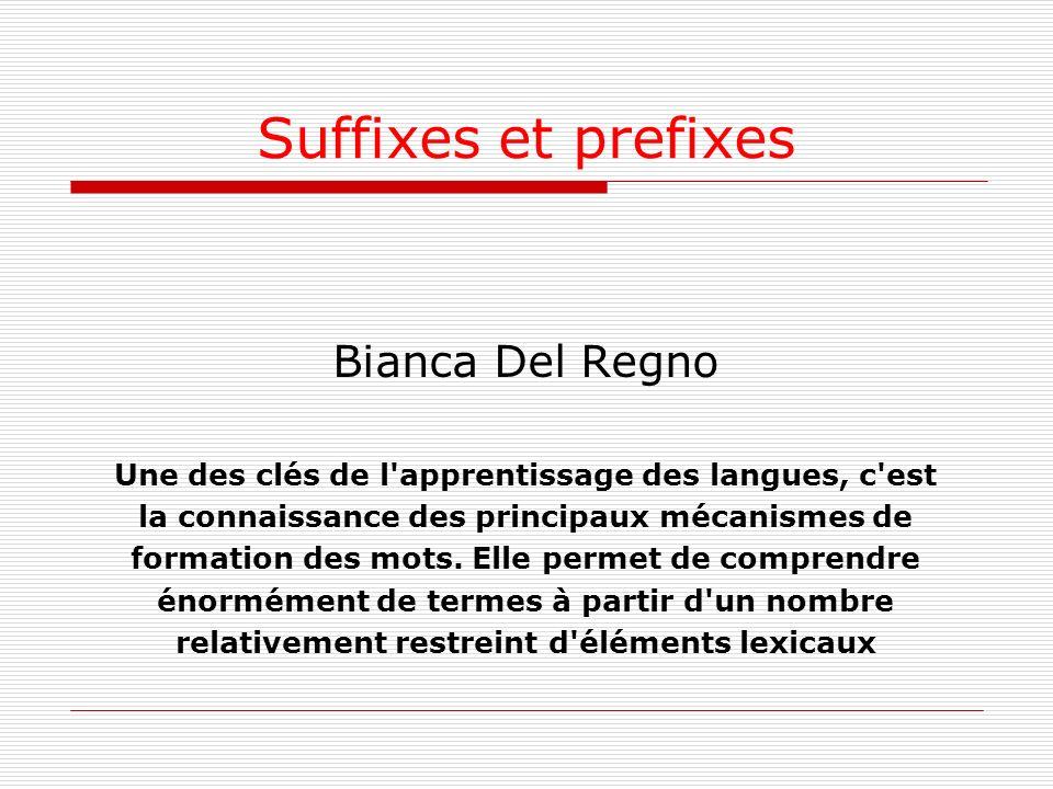 Suffixes et prefixes Bianca Del Regno Une des clés de l'apprentissage des langues, c'est la connaissance des principaux mécanismes de formation des mo
