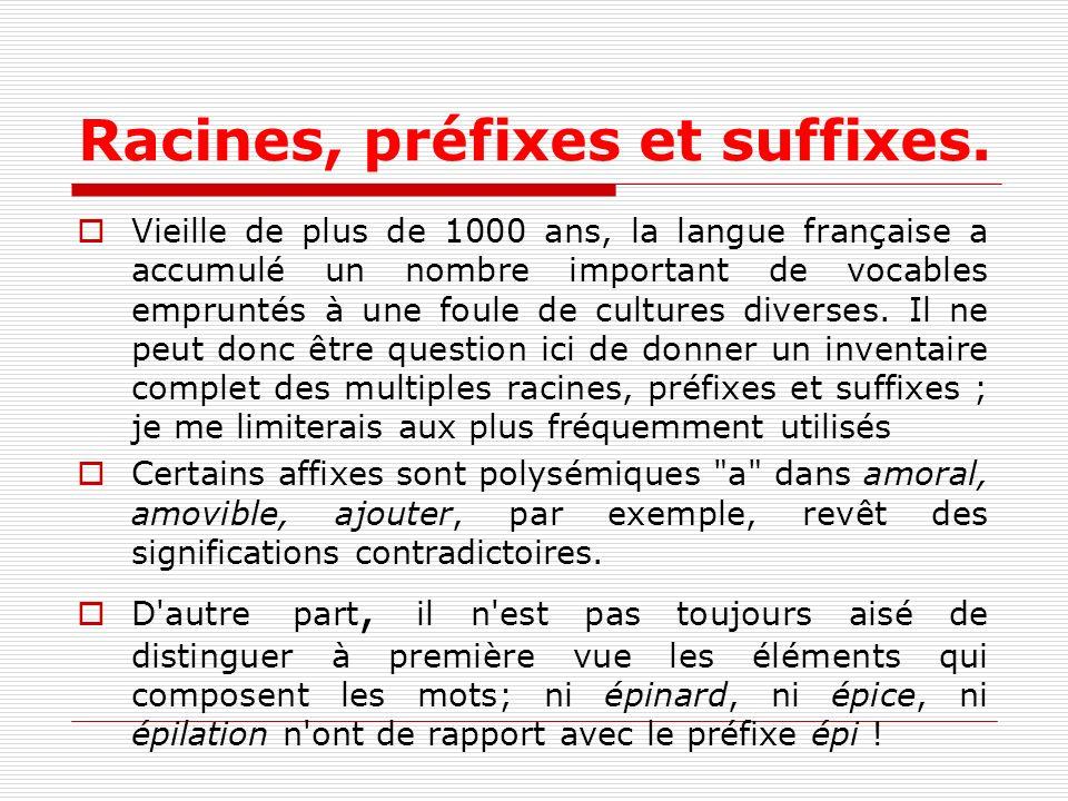 Racines, préfixes et suffixes. Vieille de plus de 1000 ans, la langue française a accumulé un nombre important de vocables empruntés à une foule de cu