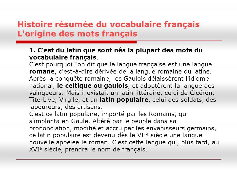 Histoire résumée du vocabulaire français L'origine des mots français 1. C'est du latin que sont nés la plupart des mots du vocabulaire français. C'est