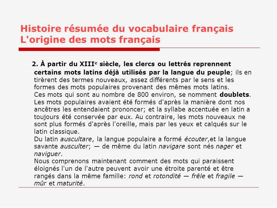 Histoire résumée du vocabulaire français L'origine des mots français 2. À partir du XIII e siècle, les clercs ou lettrés reprennent certains mots lati