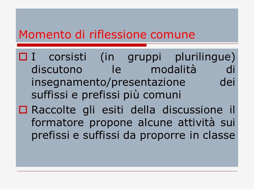 Momento di riflessione comune I corsisti (in gruppi plurilingue) discutono le modalità di insegnamento/presentazione dei suffissi e prefissi più comun