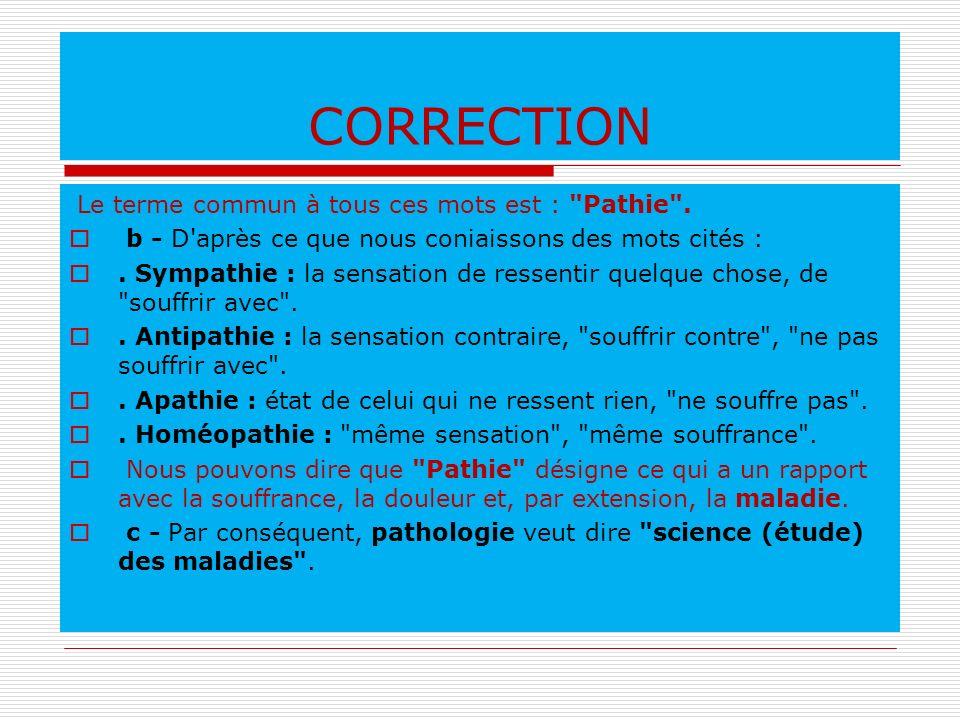 CORRECTION Le terme commun à tous ces mots est :