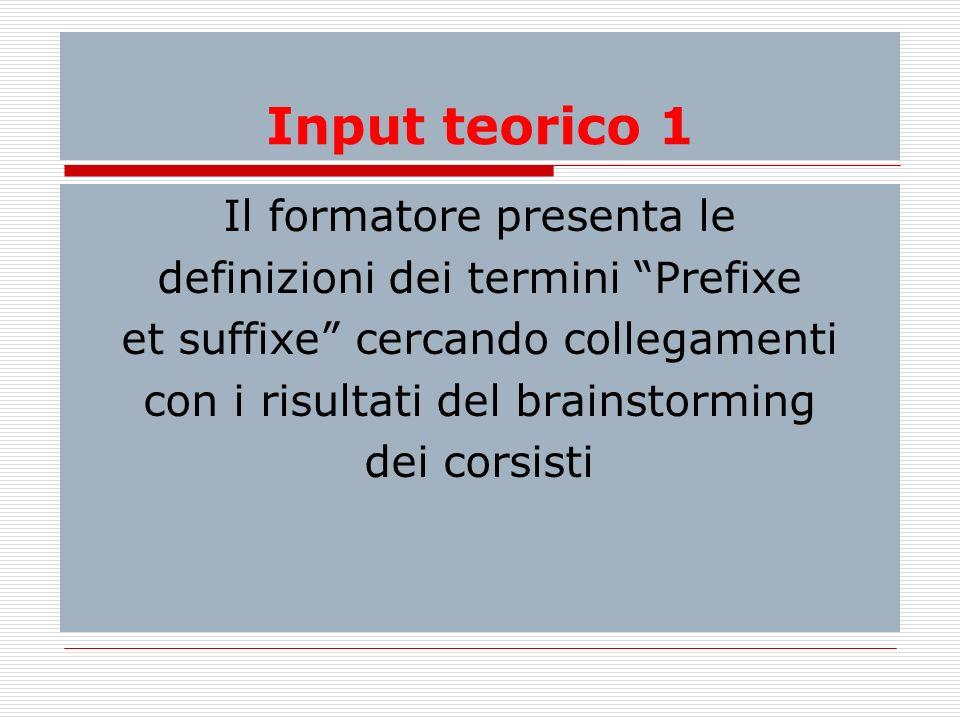 Input teorico 1 Il formatore presenta le definizioni dei termini Prefixe et suffixe cercando collegamenti con i risultati del brainstorming dei corsis