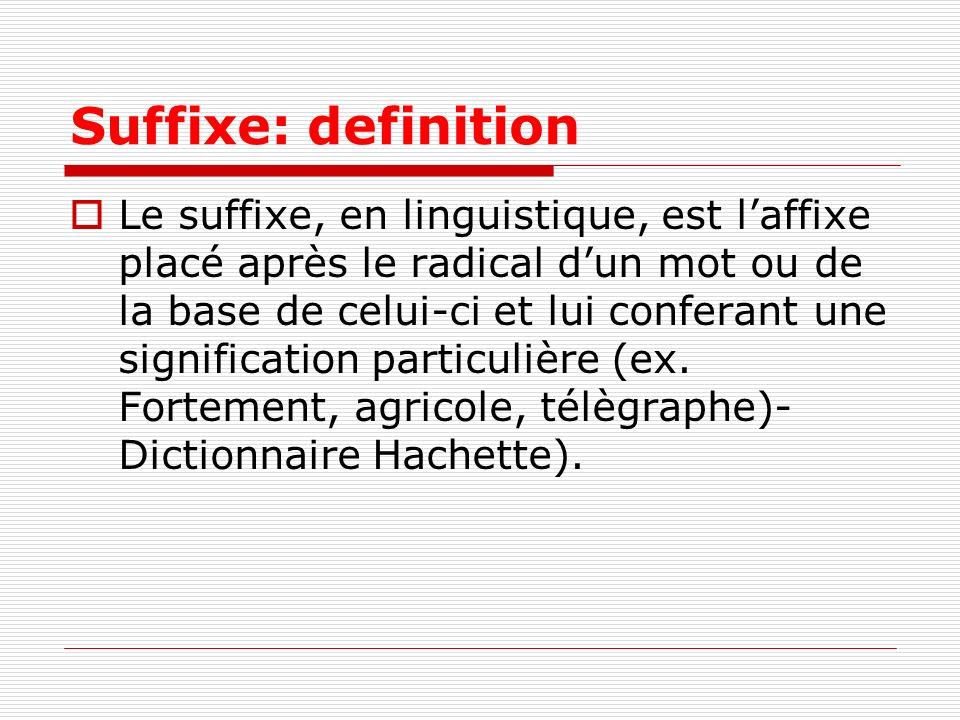 Suffixe: definition Le suffixe, en linguistique, est laffixe placé après le radical dun mot ou de la base de celui-ci et lui conferant une significati