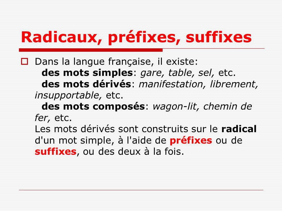 Radicaux, préfixes, suffixes Dans la langue française, il existe: des mots simples: gare, table, sel, etc. des mots dérivés: manifestation, librement,