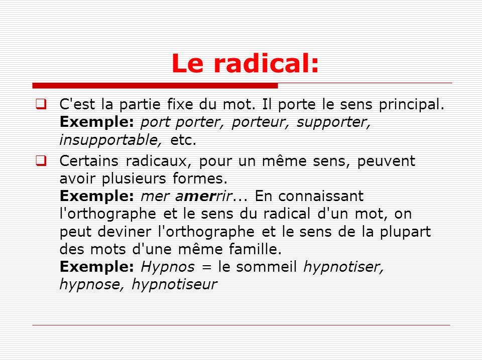 Le radical: C'est la partie fixe du mot. Il porte le sens principal. Exemple: port porter, porteur, supporter, insupportable, etc. Certains radicaux,