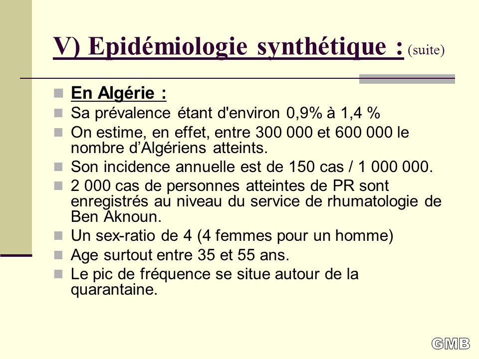 V) Epidémiologie synthétique : (suite) En Algérie : Sa prévalence étant d environ 0,9% à 1,4 % On estime, en effet, entre 300 000 et 600 000 le nombre dAlgériens atteints.
