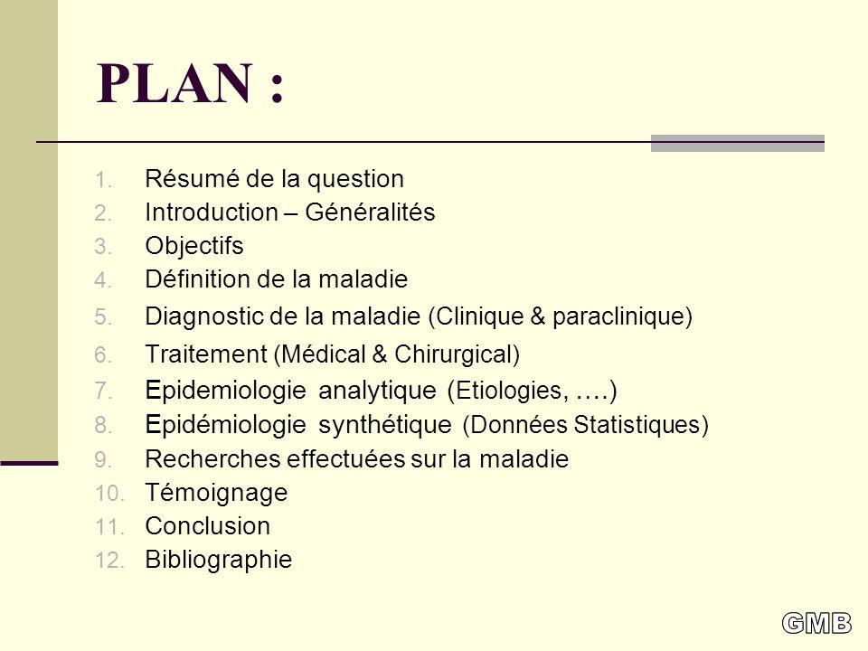 PLAN : 1.Résumé de la question 2. Introduction – Généralités 3.