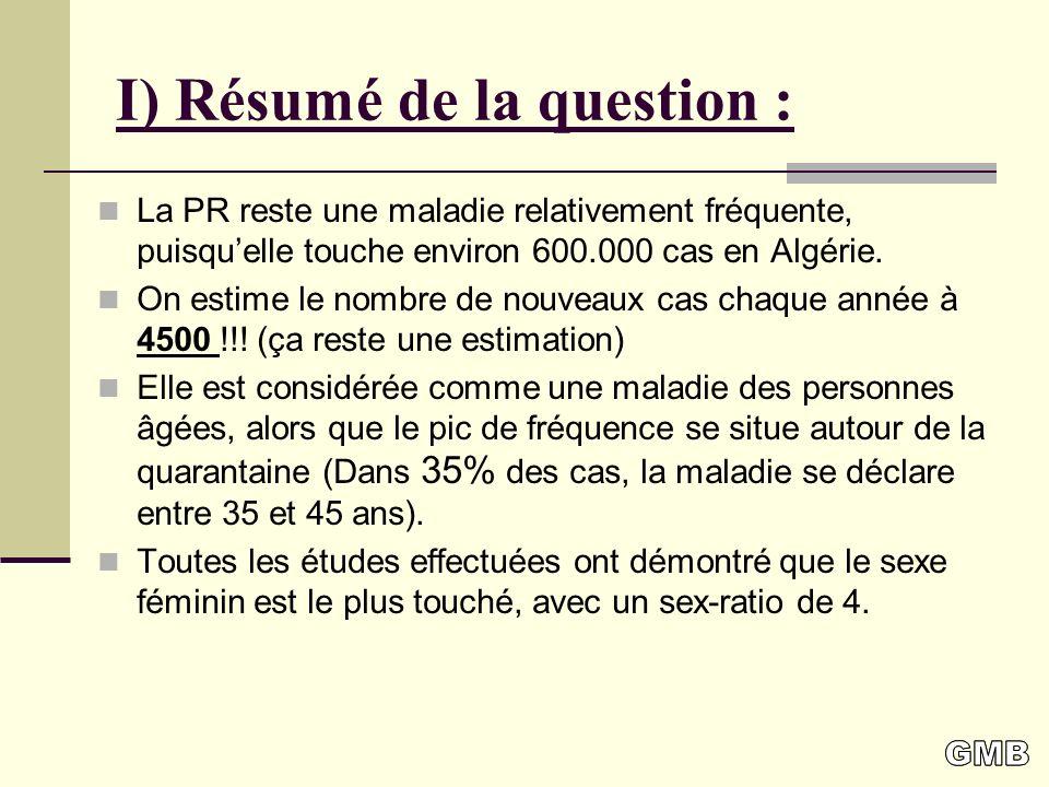 I) Résumé de la question : La PR reste une maladie relativement fréquente, puisquelle touche environ 600.000 cas en Algérie.