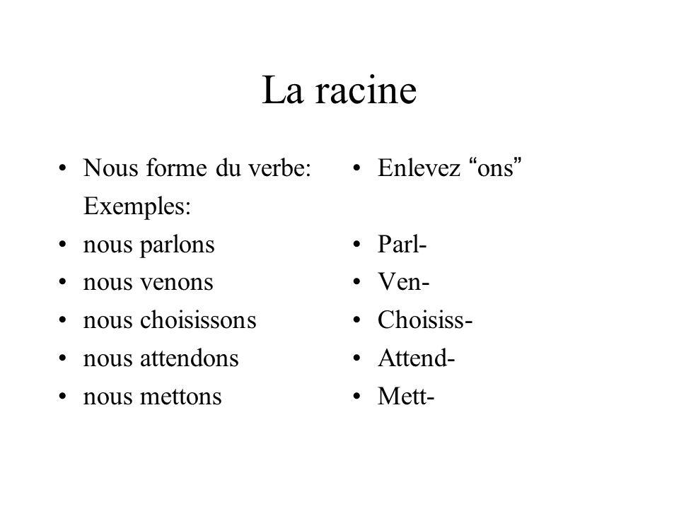 La racine Nous forme du verbe: Exemples: nous parlons nous venons nous choisissons nous attendons nous mettons Enlevez ons Parl- Ven- Choisiss- Attend- Mett-