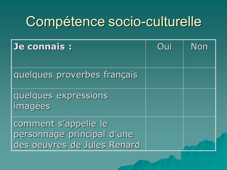 Compétence socio-culturelle Je connais : OuiNon quelques proverbes français quelques expressions imagées comment sappelle le personnage principal dune des oeuvres de Jules Renard