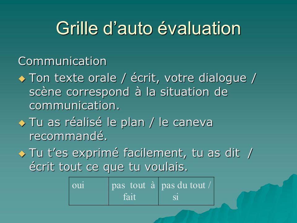 Grille dauto évaluation Communication Ton texte orale / écrit, votre dialogue / scène correspond à la situation de communication.