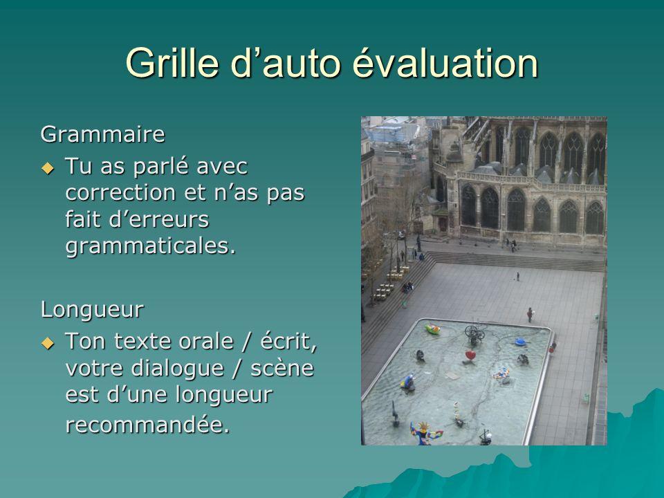 Grille dauto évaluation Grammaire Tu as parlé avec correction et nas pas fait derreurs grammaticales.