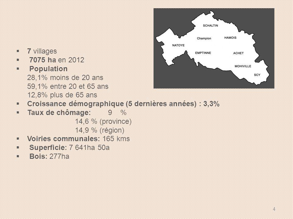 7 villages 7075 ha en 2012 Population 28,1% moins de 20 ans 59,1% entre 20 et 65 ans 12,8% plus de 65 ans Croissance démographique (5 dernières années) : 3,3% Taux de chômage: 9 % 14,6 % (province) 14,9 % (région) Voiries communales: 165 kms Superficie: 7 641ha 50a Bois: 277ha 4