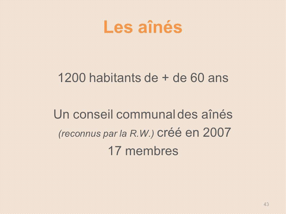 Les aînés 1200 habitants de + de 60 ans Un conseil communal des aînés (reconnus par la R.W.) créé en 2007 17 membres 43