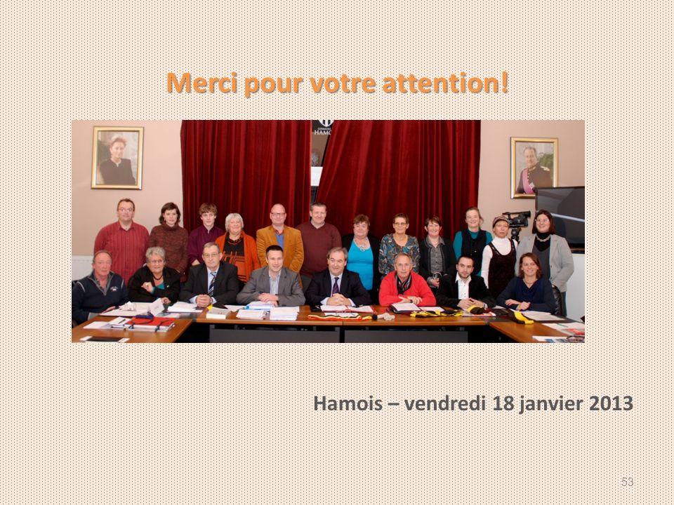 Merci pour votre attention! Hamois – vendredi 18 janvier 2013 53