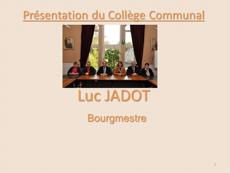 Présentation du Collège Communal Luc JADOT Bourgmestre 7