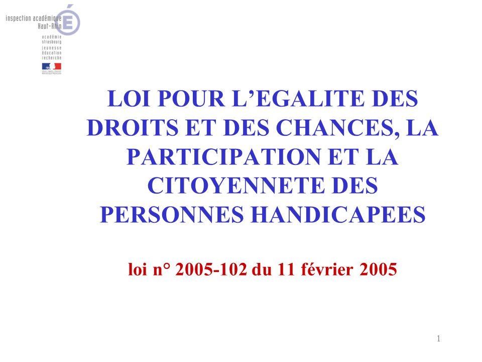 1 LOI POUR LEGALITE DES DROITS ET DES CHANCES, LA PARTICIPATION ET LA CITOYENNETE DES PERSONNES HANDICAPEES loi n° 2005-102 du 11 février 2005