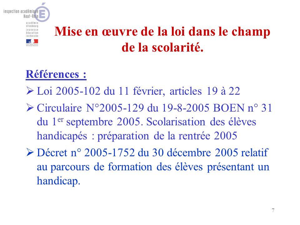 18 Lenseignant référent (décret du 30/12/2005) Il est chargé de réunir léquipe de suivi de scolarisation.