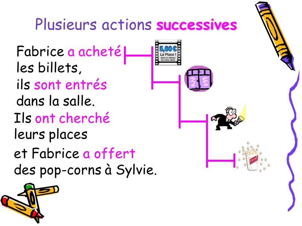 Plusieurs actions s ss successives et Fabrice a offert des pop-corns à Sylvie. Fabrice a acheté les billets, ils sont entrés dans la salle. Ils ont ch