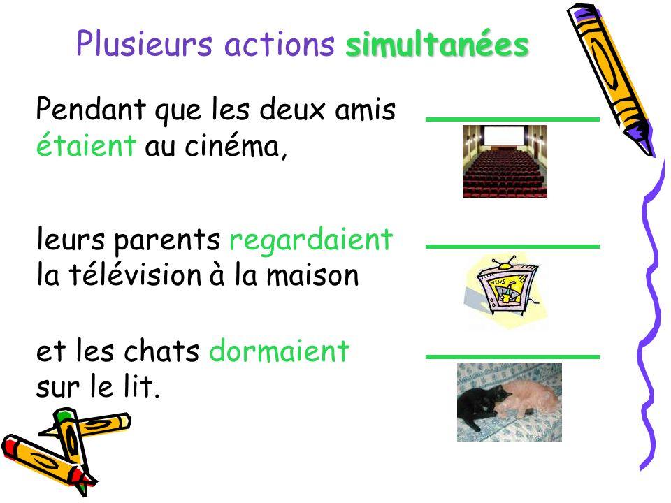 Plusieurs actions s ss simultanées Pendant que les deux amis étaient au cinéma, leurs parents regardaient la télévision à la maison et les chats dorma