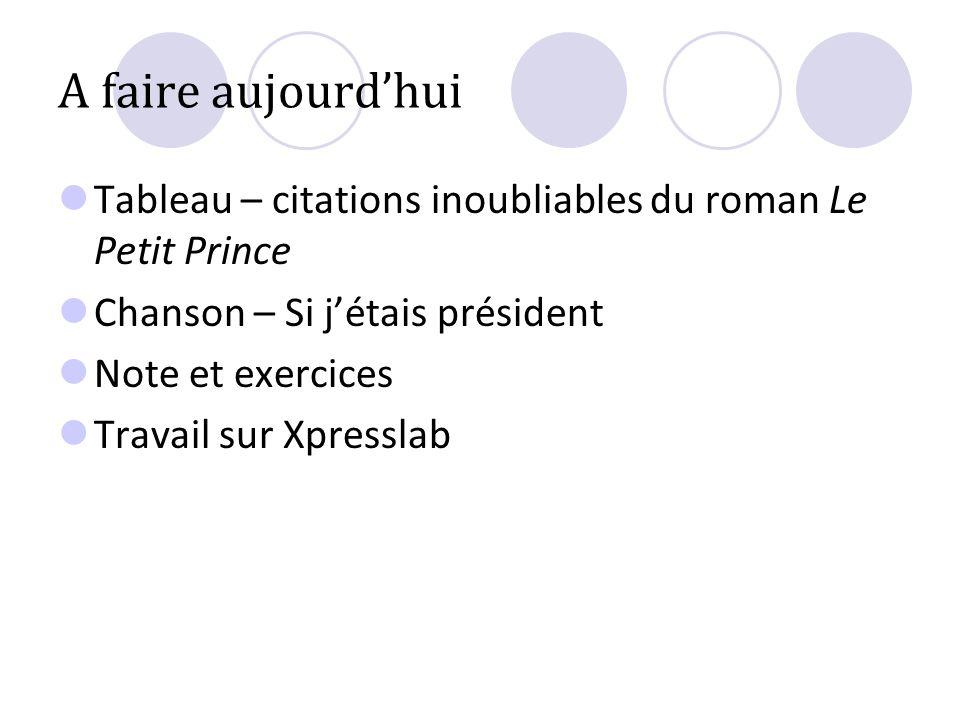 A faire aujourdhui Tableau – citations inoubliables du roman Le Petit Prince Chanson – Si jétais président Note et exercices Travail sur Xpresslab