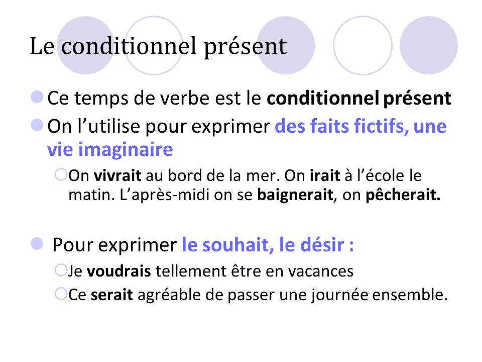 Le conditionnel présent Ce temps de verbe est le conditionnel présent On lutilise pour exprimer des faits fictifs, une vie imaginaire On vivrait au bo