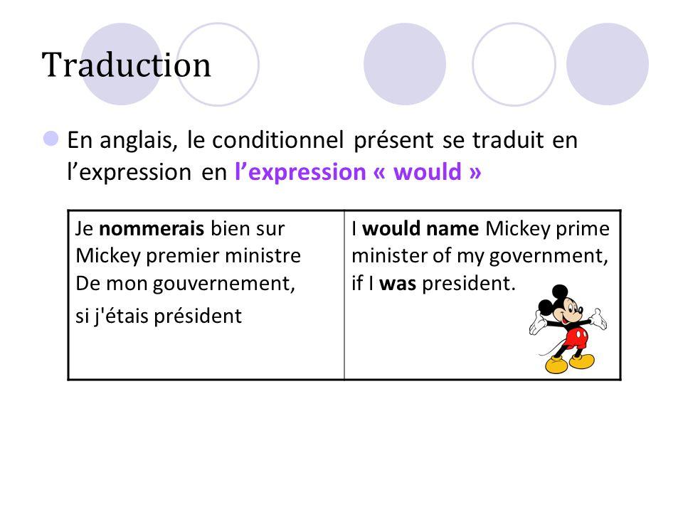 Traduction En anglais, le conditionnel présent se traduit en lexpression en lexpression « would » Je nommerais bien sur Mickey premier ministre De mon
