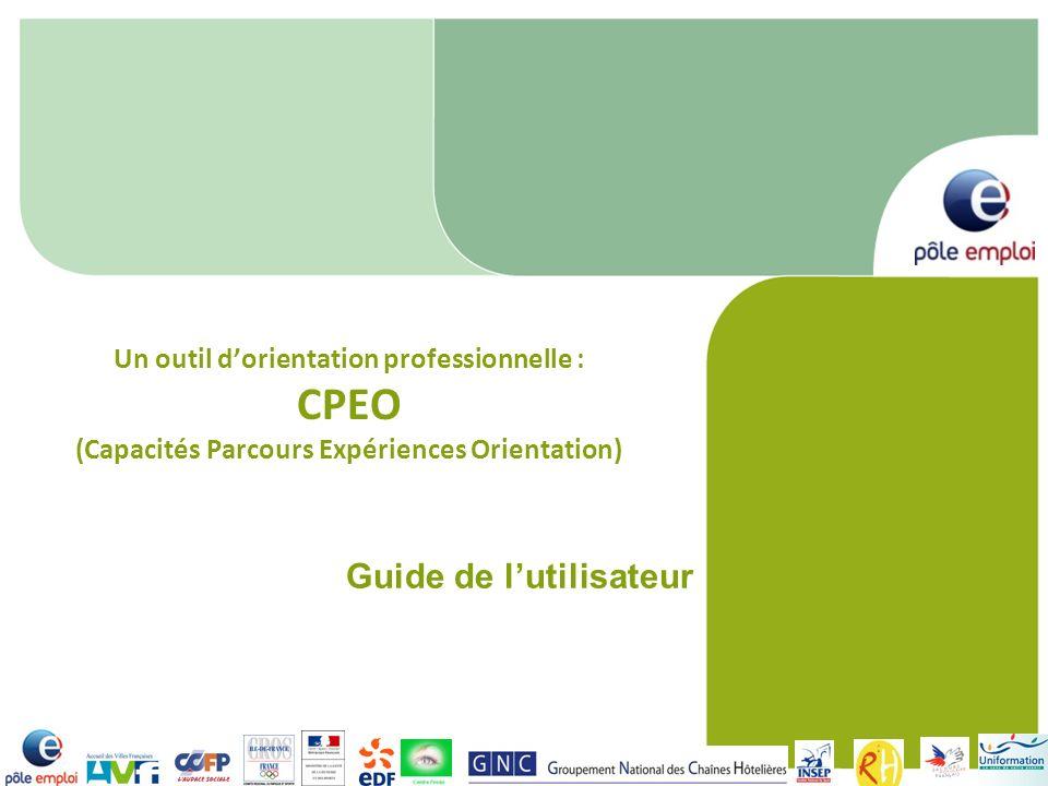 Un outil dorientation professionnelle : CPEO (Capacités Parcours Expériences Orientation) Guide de lutilisateur