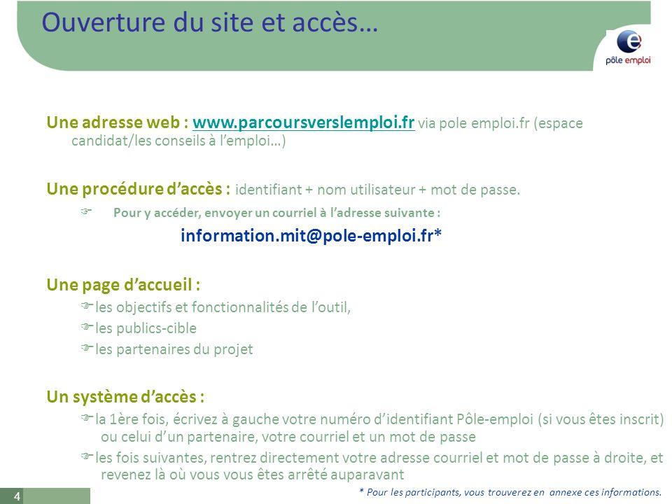 4 Ouverture du site et accès… Une adresse web : www.parcoursverslemploi.fr via pole emploi.fr (espace candidat/les conseils à lemploi…)www.parcoursverslemploi.fr Une procédure daccès : identifiant + nom utilisateur + mot de passe.