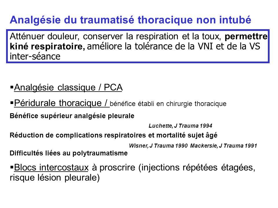 Analgésie du traumatisé thoracique non intubé Atténuer douleur, conserver la respiration et la toux, permettre kiné respiratoire, améliore la toléranc